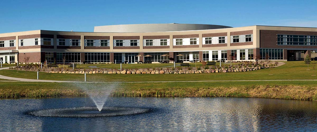Sioux Center Health Building and Fountain